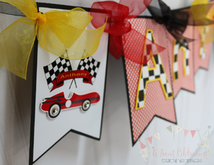RACE CAR - HAPPY BIRTHDAY BANNER