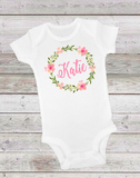 FLORAL PINK WREATH - ONESIE OR T-SHIRT