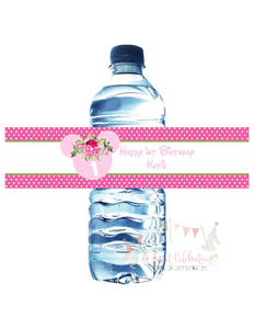 MINNIE MOUSE PINK FLORAL - WATERPROOF WATER BOTTLE LABELS