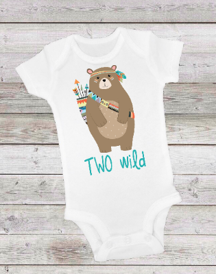 TWO WILD TRIBAL BEAR - ONESIE OR T-SHIRT
