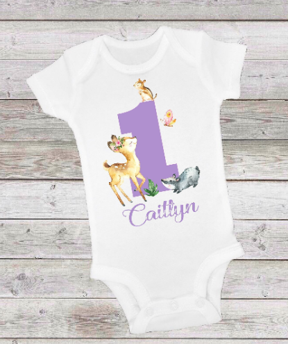 WOODLAND DEER BIRTHDAY -  ONESIE OR T-SHIRT