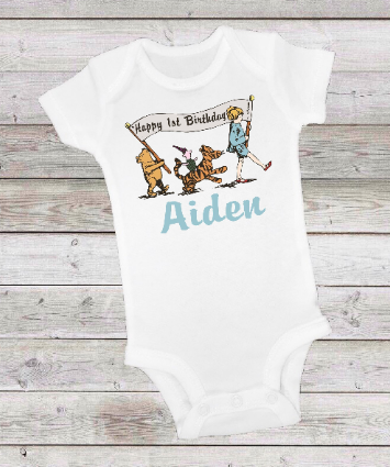 CLASSIC WINNIE THE POOH PARADE BLUE BIRTHDAY -  ONESIE OR T-SHIRT