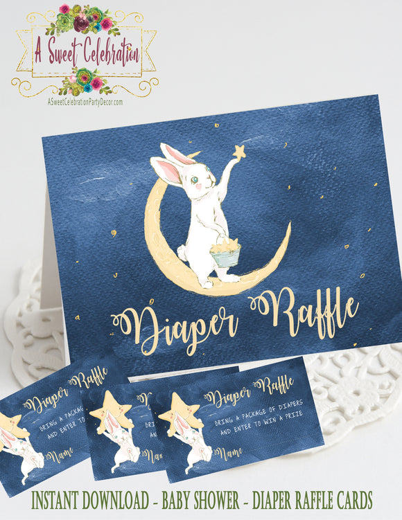 TWINKLE, TWINKLE LITTLE STAR - BABY SHOWER - PRINTABLE DIAPER RAFFLE CARDS - JPG/PDF