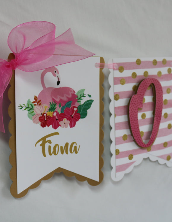 FLAMINGO - PINK AND GOLD - HIGH CHAIR BANNER