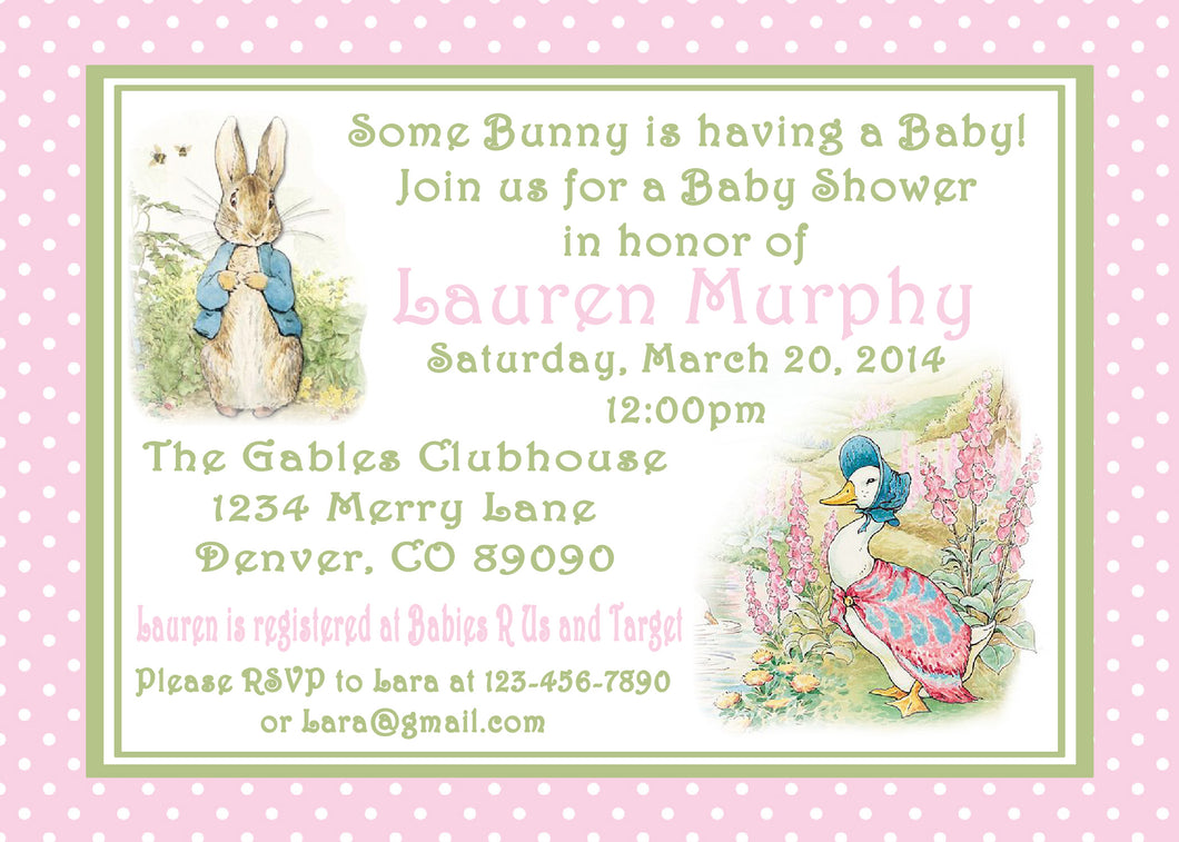 PETER RABBIT PINK - BABY SHOWER INVITATIONS