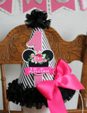 MINNIE MOUSE BLACK FLORAL -  BIRTHDAY PARTY HAT