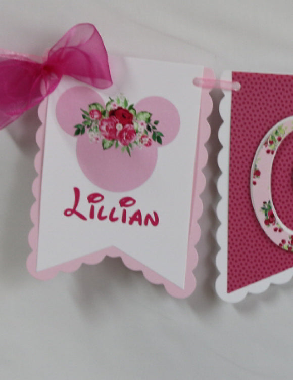 MINNIE MOUSE PINK FLORAL - HIGH-CHAIR BANNER