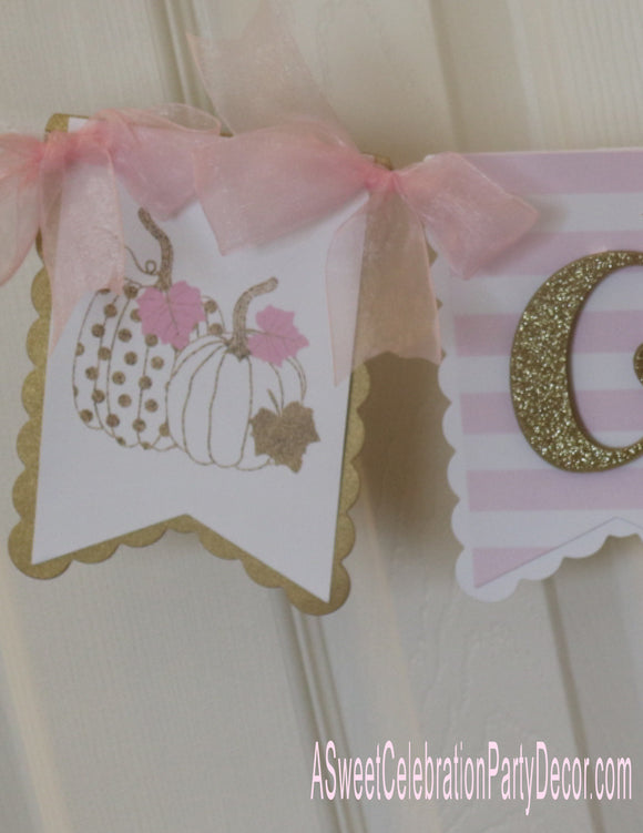 PUMPKIN PINK AND GOLD - HIGH CHAIR BANNER