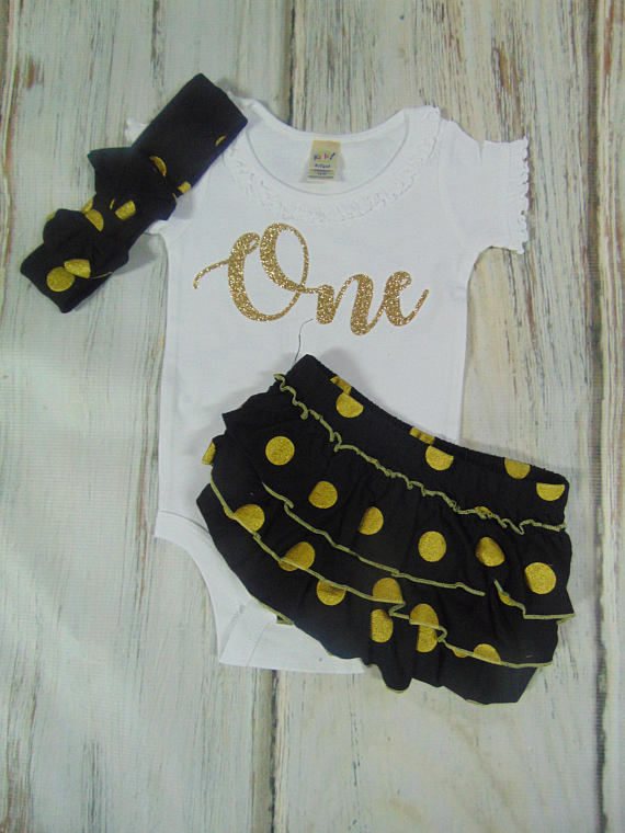 RUFFLED BLOOMER SET - BLACK AND GOLD