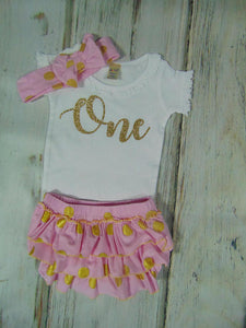 RUFFLED BLOOMER SET - PINK AND GOLD