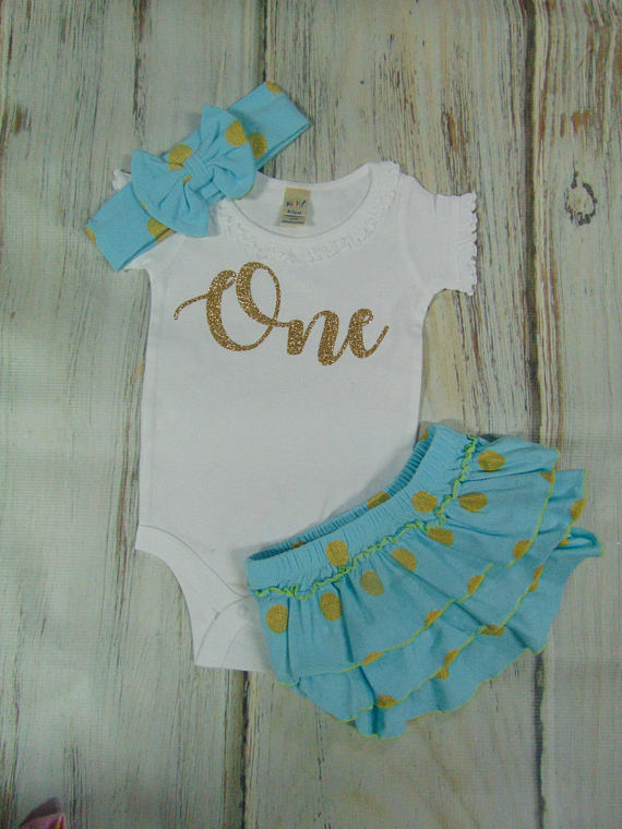 RUFFLED BLOOMER SET - AQUA BLUE AND GOLD
