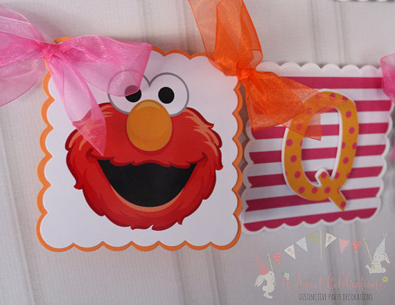 ELMO PINK HAPPY BIRTHDAY BANNER