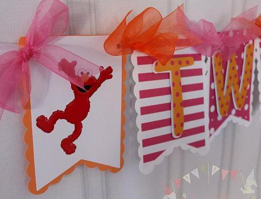 ELMO PINK HIGH CHAIR BIRTHDAY BANNER
