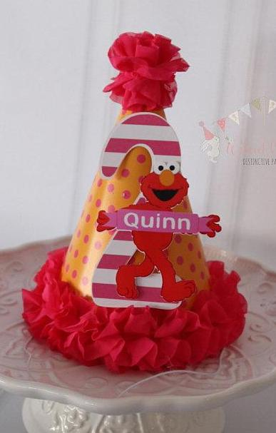 ELMO PINK HAPPY BIRTHDAY PARTY HAT