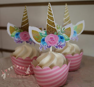 UNICORN FLORAL -  CUPCAKE TOPPERS WITH MATCHING CUPCAKE WRAPPERS