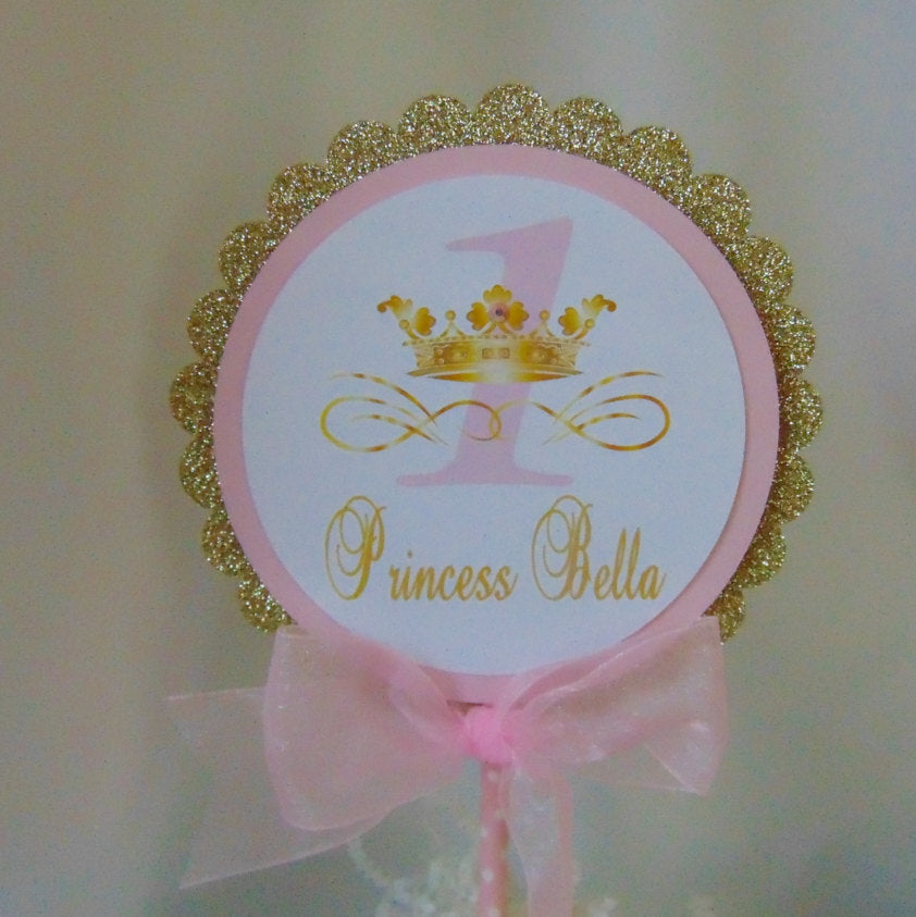 PRINCESS BIRTHDAY PINK & GOLD CAKE TOPPER