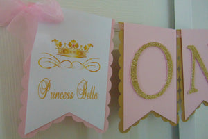 PRINCESS BIRTHDAY PINK & GOLD HIGH CHAIR BANNER