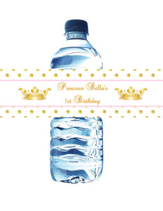 PRINCESS - BIRTHDAY - PINK & GOLD - WATERPROOF WATER BOTTLE LABELS