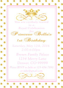 PRINCESS PINK AND GOLD - PRINTABLE BIRTHDAY INVITATION - FREE MATCHING THANK YOU