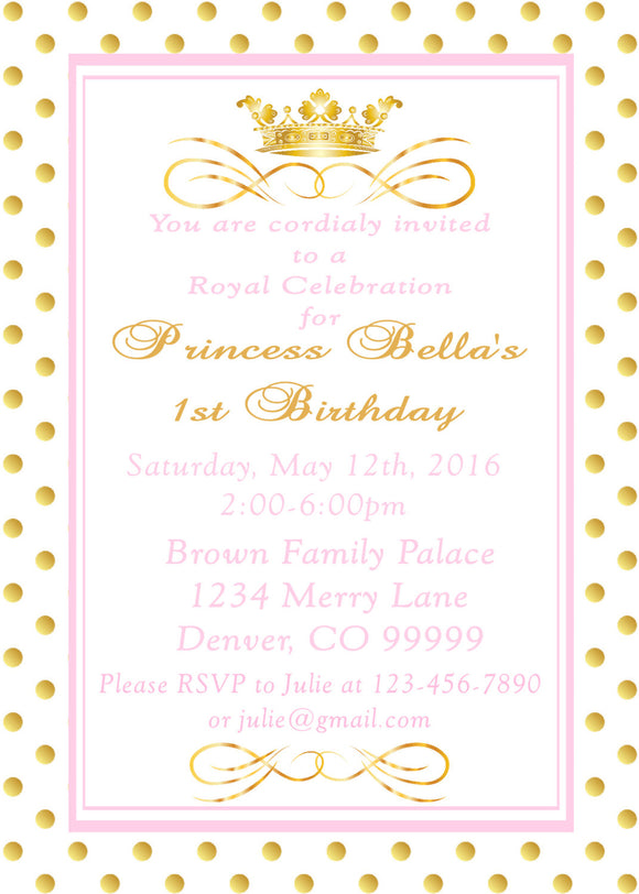 PRINCESS - PINK AND GOLD - PRINTABLE BIRTHDAY INVITATION - FREE MATCHING THANK YOU