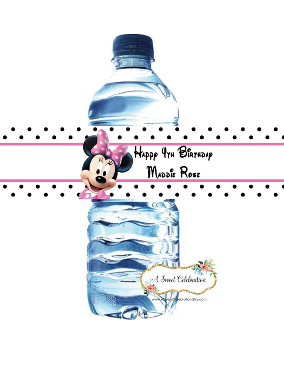 MINNIE MOUSE - HOT PINK - WATERPROOF WATER BOTTLE LABELS