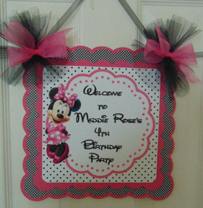MINNIE MOUSE - HOT PINK - WELCOME DOOR SIGN BANNER