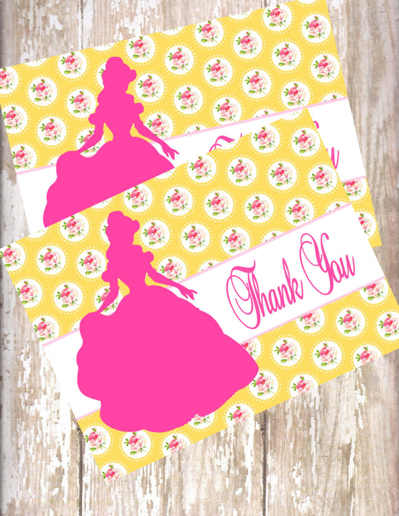 BEAUTY & THE BEAST - PRINCESS - PRINTABLE THANK YOU'S