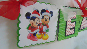 MICKEY & MINNIE MOUSE CHRISTMAS HAPPY BIRTHDAY BANNER