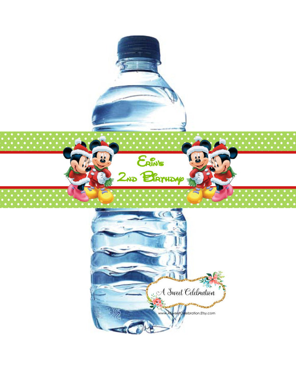 MICKEY & MINNIE MOUSE CHRISTMAS - WATERPROOF WATER BOTTLE LABELS
