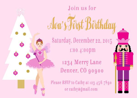NUTCRACKER BALLET - BIRTHDAY - PRINTABLE INVITATION - FREE MATCHING THANK YOU