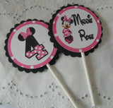 MINNIE MOUSE - HOT PINK - CUPCAKE TOPPERS