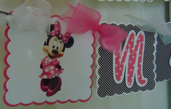 MINNIE MOUSE - HOT PINK - HAPPY BIRTHDAY BANNER