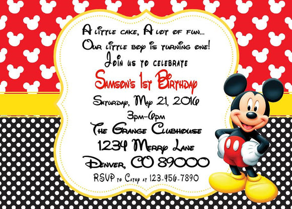 MICKEY MOUSE - BIRTHDAY - PRINTABLE INVITATIONS - FREE MATCHING THANK YOU