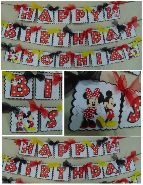 MICKEY & MINNIE MOUSE - HAPPY BIRTHDAY BANNER