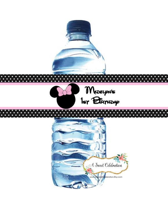 MINNIE MOUSE POLKA DOT - PRINTABLE WATER BOTTLE LABELS