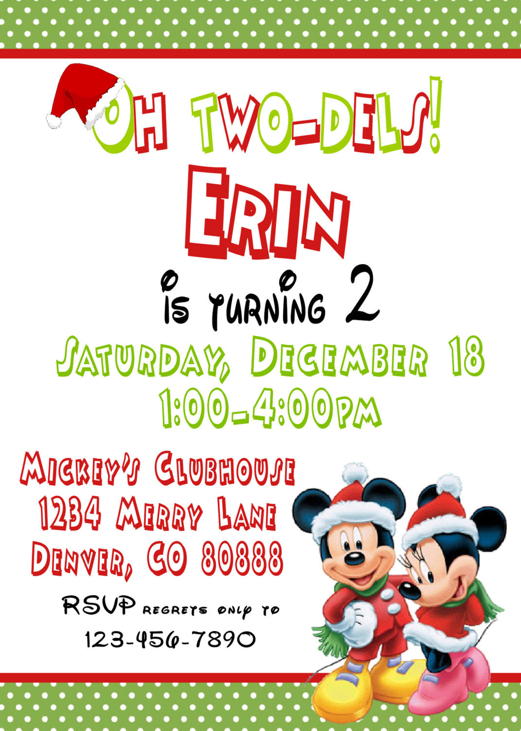 MICKEY & MINNIE MOUSE CHRISTMAS - BIRTHDAY INVITATIONS - JPG/PDF ONLY