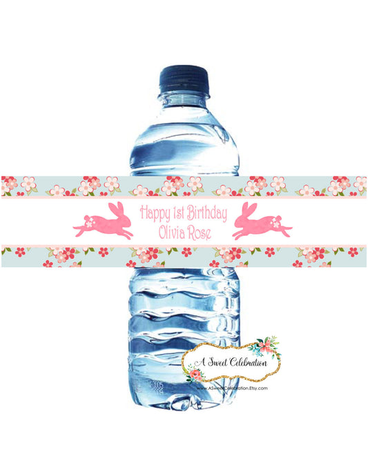 SHABBY CHIC BUNNY -  WATERPROOF WATER BOTTLE LABELS