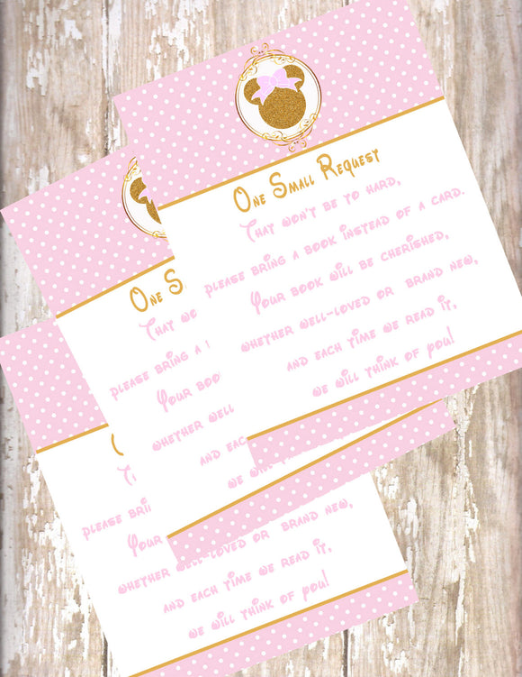 MINNIE MOUSE PINK & GOLD BOOK REQUEST CARDS