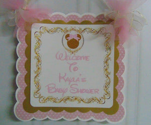 MINNIE MOUSE PINK & GOLD - DOOR BANNER