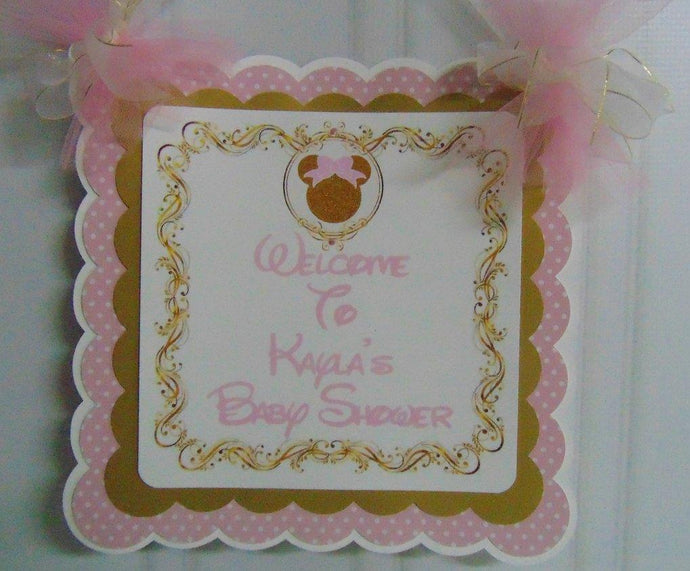 MINNIE MOUSE - PINK & GOLD - DOOR BANNER
