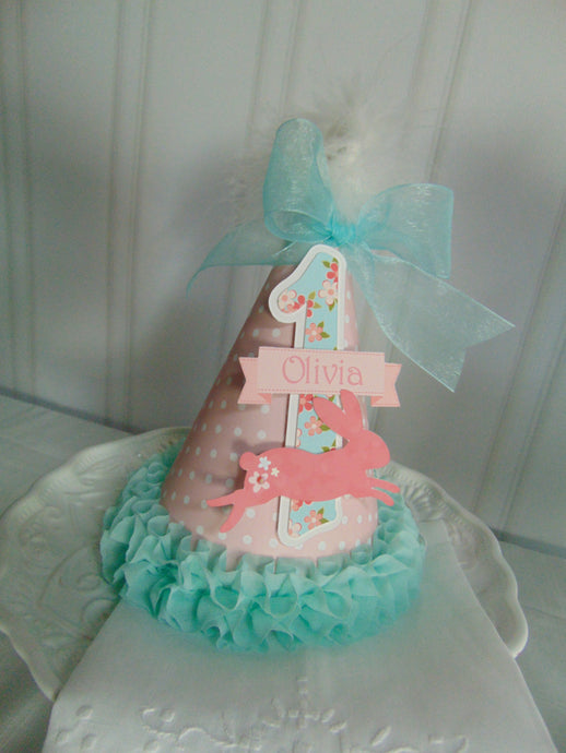 SHABBY CHIC BUNNY - BIRTHDAY PARTY HAT