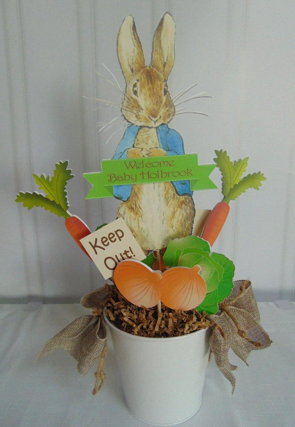 PETER RABBIT CENTERPIECE - HAPPY BIRTHDAY