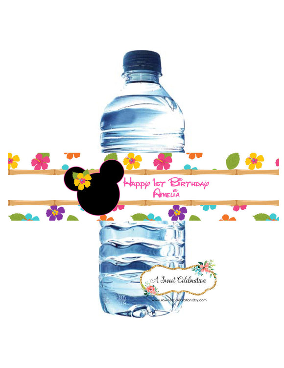 MINNIE MOUSE LUAU - WATERPROOF WATER BOTTLE LABELS
