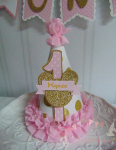 MINNIE MOUSE PINK & GOLD BIRTHDAY PARTY HAT