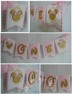 MINNIE MOUSE PINK AND GOLD HIGH-CHAIR BANNER