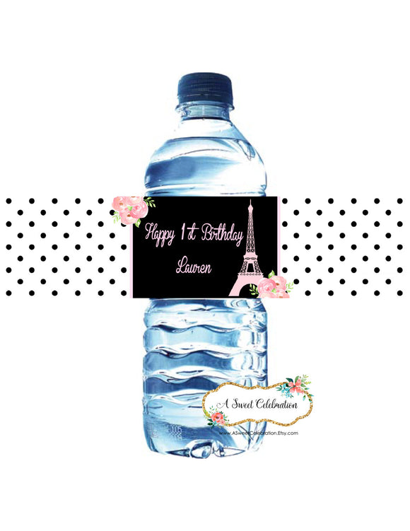 PARIS PINK AND BLACK - PRINTABLE WATER BOTTLE LABEL