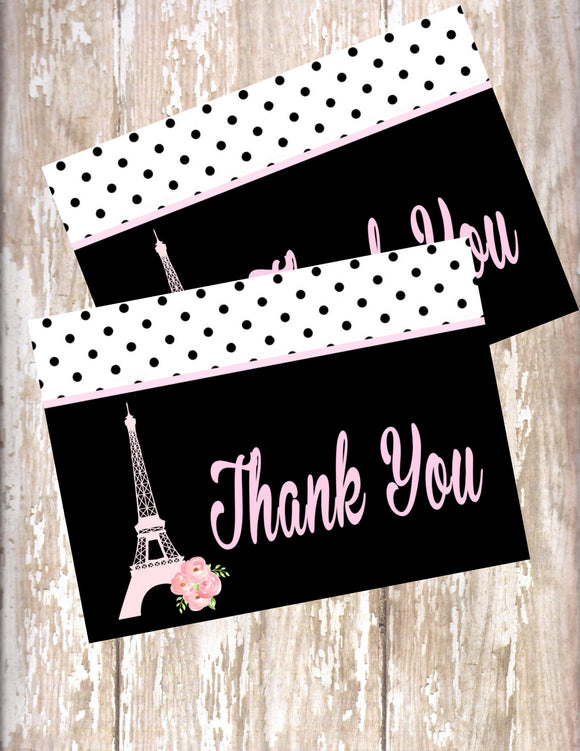 PARIS PINK AND BLACK - PRINTABLE THANK YOU CARDS