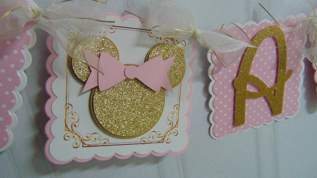MINNIE MOUSE PINK & GOLD HAPPY BIRTHDAY BANNER