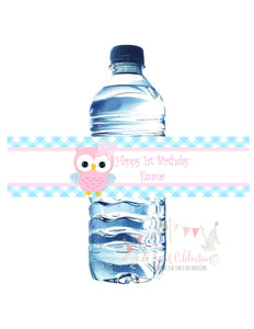 OWL - WATERPROOF WATER BOTTLE LABELS