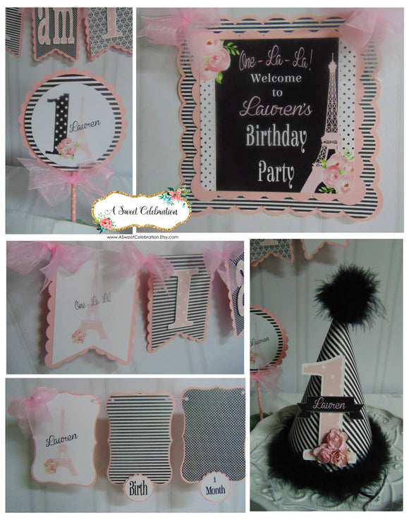 PARIS PINK AND BLACK - PETITE - 1ST BIRTHDAY PARTY PACKAGE
